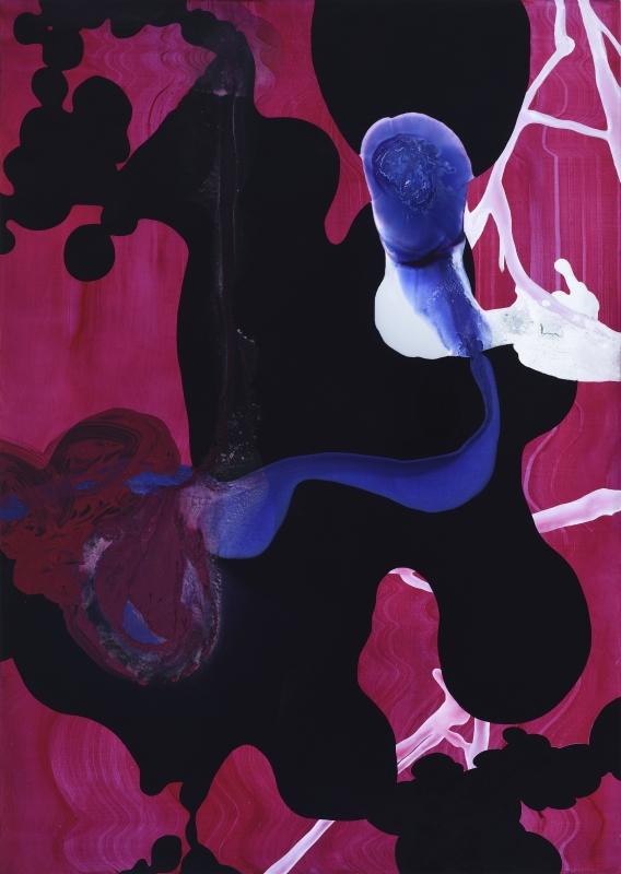 bez tytułu (Frideric went to Rome), 2018, technika własna, płótno, 190 x 135 cm